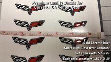 "Corvette C6 Z06 Wheel Center Cap Set of 5 Decals Super Glossy 1 7/8"" X 3/4"" 0001"