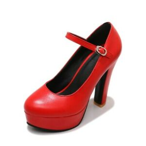 Women Round Toe High Heels Ankle Buckle Strap Wedding Dress Mary Janes Shoes Patent Leather Pumps