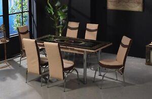 Tavolo Allungabile Soggiorno Sala Da Pranzo Con Sei Sedie Design Elegante Ebay