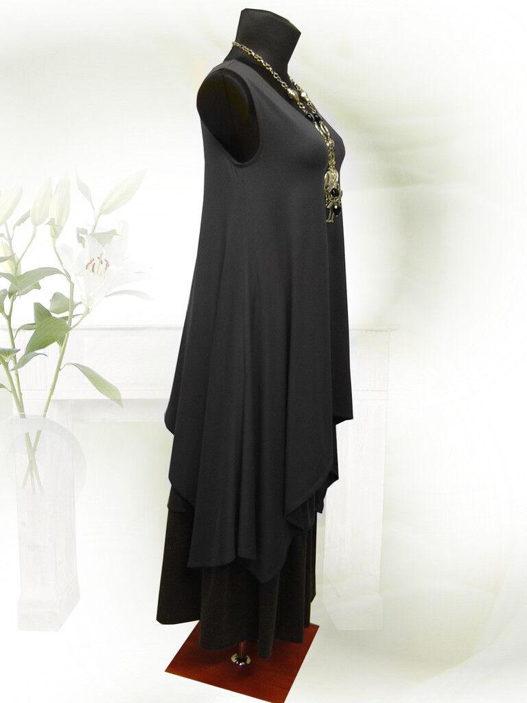 Poco Poco Poco design Lagenlook Long-Top Shirt Tunica tra parte NERO L-XL-XXL-XXXL 76fb12