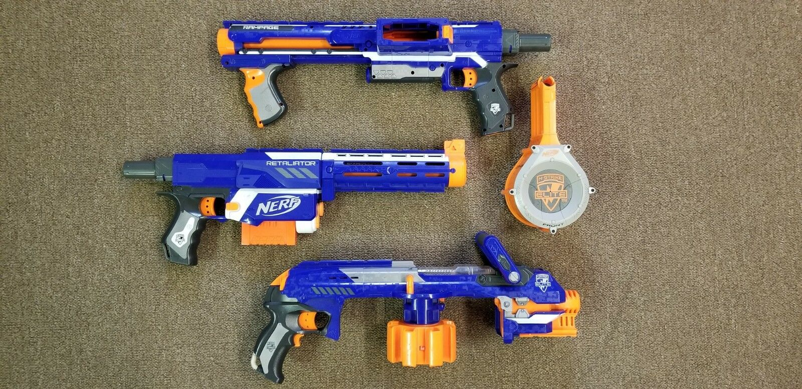 3 Nerf Guns - Retaliator, Rampage and Hailfire Blasters - Work Great