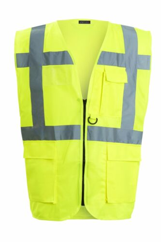 Hi Vis Executive Vest Waistcoat With Phone ID Pocket Key Holder