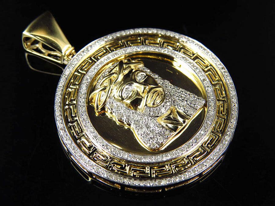 10K Yellow gold Genuine Diamond Greek Bezel Jesus Piece Medallion 1.75  (1.0Ct)
