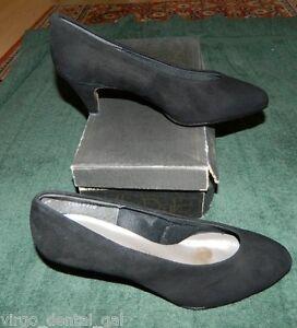 NIB-HILL-amp-DALE-Black-Nubuck-Leather-Orthopedic-Occupational-Heels-Size-6-5-D