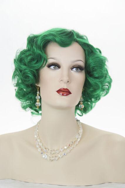Dark Green Blonde Medium Short Wavy Curly Skin Top Fun