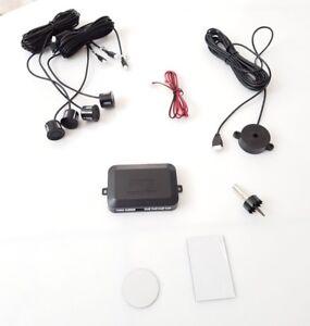 Einparkhilfe-4-Sensoren-zum-Nachruesten-hinten-Parkhilfe-Rueckfahrwarner-Schwarz