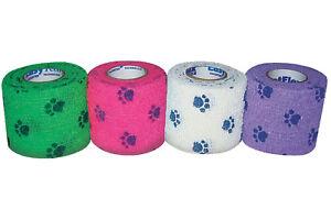 8-x-PetFlex-Haftbandage-Pfotendruck-gruen-pink-weiss-lila-5-cm-breit