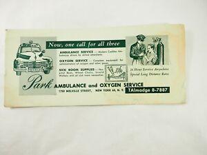 Park-Ambulance-et-Oxygene-Service-New-York-Publicite-Encre-Buvard-588ms