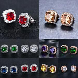 18K-Rose-Gold-Princess-Cut-Champagne-Topaz-Stud-Earrings-Square-Ear-Stud-Earring