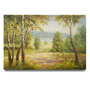 NY Art - Great Birch Tree Landscape 24x36 Impressionist Oil Painting on Canvas!