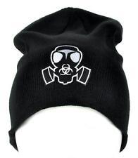 Gas Mask Bio Hazard Sign Beanie Cyber Goth Clothing Knit Cap Deathrock Punk Rock