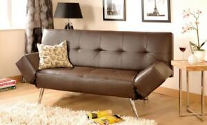 Cool Details About Faux Leather Sofa Bed Modern 2 3 Seater With Adjustable Arms In Black Or Brown Beatyapartments Chair Design Images Beatyapartmentscom