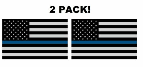 """2 Pack! THIN BLUE LINE 4/"""" x 2.5/"""" DECALS STICKER SUPPORT POLICE Subdued Flag"""