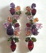S07. LARGE statement earrings multi colour gems white gold filled BOXED Plum UK