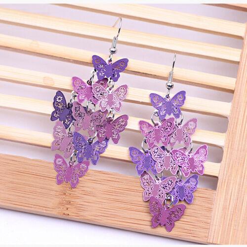 LADY Women Butterfly Dangle Chandelier Drop Earrings Ear Hook Jewelry Fashion
