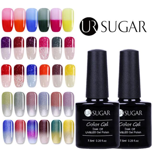 7.5ml UR SUGAR Color Changing UV Gel Polish Glitter Top Coat Base Coat Nail Art