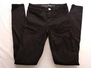 New-American-Eagle-Hi-Rise-Jegging-Fit-Stretch-Black-Denim-Jeans-Sz-0-Reg
