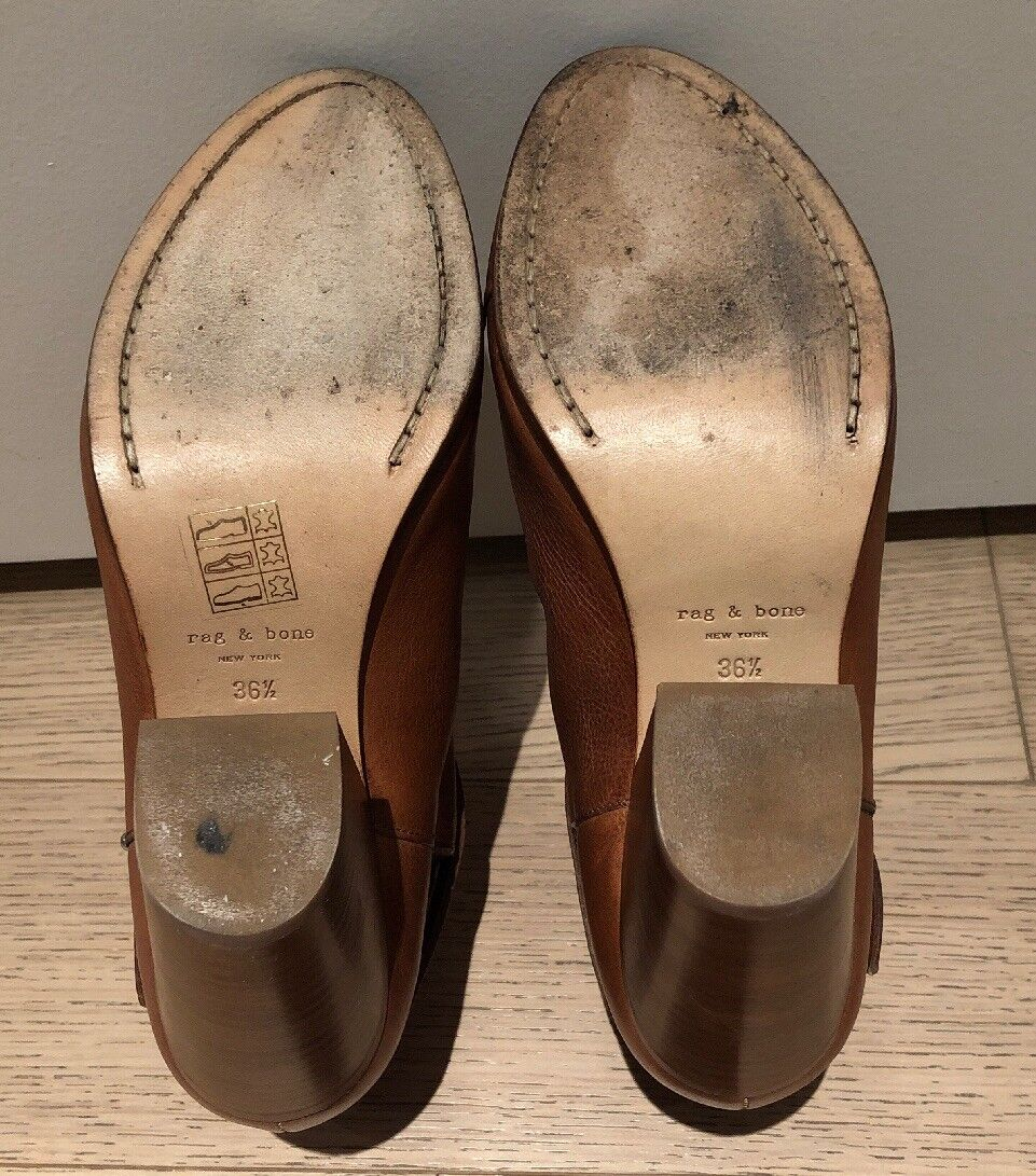 EUC EUC EUC RAG & BONE Harrow Shearling-Lined Leather Ankle Boots - Tan - Sz 36.5 -  550 f74378