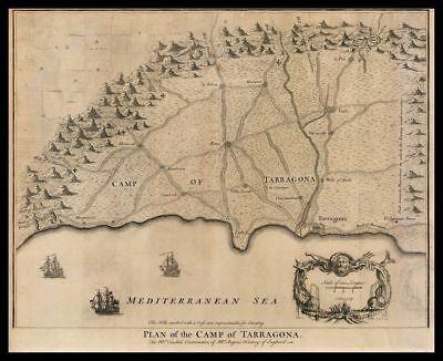 Cartina Spagna Tarragona.Tarragona Catalogna Spagna Mar Mediterraneo Stampa Originale 1700 Ebay