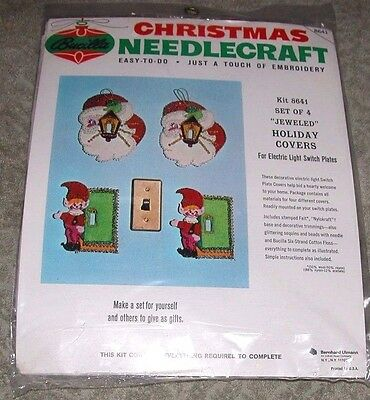 "Vintage Bucilla /""Santa /& Elves/"" Jeweled Felt Christmas Switch Plate Cover Kit"