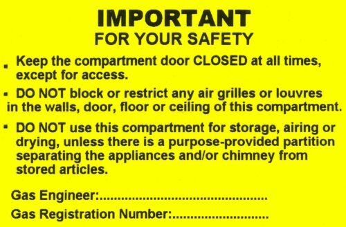 76 x 51mm stickers 50 Mini Gas important for your own safety Labels