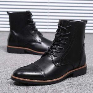 Hommes-Cuir-Derbies-Chaud-Knight-MARTIN-boots-high-top-Richelieu-a-Bout-D-039-Aile-Chaussures