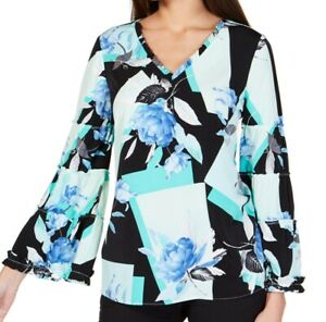 Alfani Womens Blouse Blue Multi Size Medium M Ruffle-Neck Flare-Sleeve $69 030