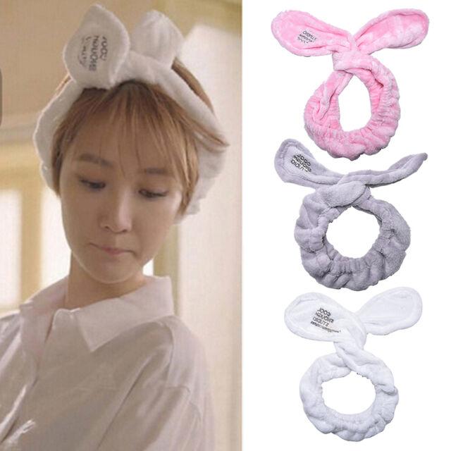 Cute Big Rabbit Ear Soft Towel Hair Band Wrap Headband For Bath Spa Make Up LE