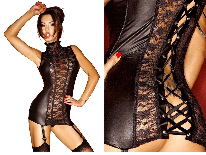 schwarz HANDMADE STRAPSKLEID kleid clubwear pvc gothic schwarz lack wetlook spitze