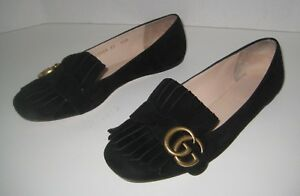 737a26175e2cf Image is loading GUCCI-GG-MARMONT-FRINGE-FLAT-BLACK-SUEDE-SIZE-