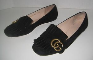 3f77ecc26440 Image is loading GUCCI-GG-MARMONT-FRINGE-FLAT-BLACK-SUEDE-SIZE-