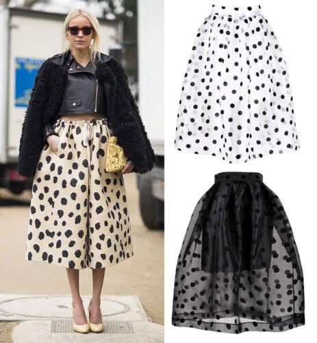 Tulle See-through Pleated Midi Full 50/'s Skirt Puffy Monochrome Polka Dot Retro