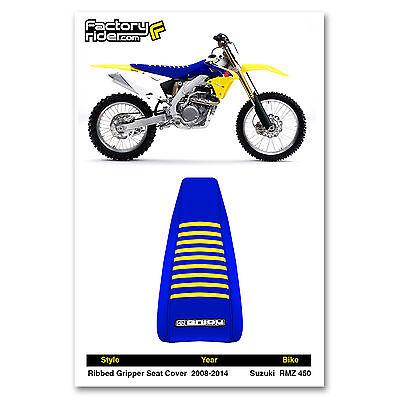Enjoy MFG 2008-2015 Suzuki RMZ 450 All Yellow Blue Ribs Seat Cover