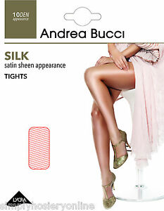 Andrea-Bucci-Silk-Satin-Sheen-Tights-10-Denier-1-Pair-Soft-Gloss-Pantyhose-to-XL