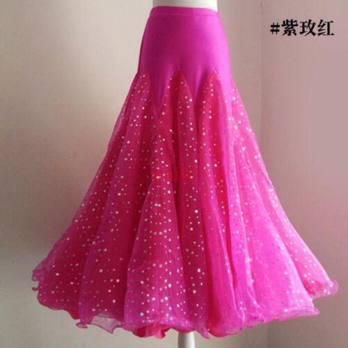 New Bling Paillette Tango Waltz Modern Dance Ballroom Long Dance Skirt Dancing