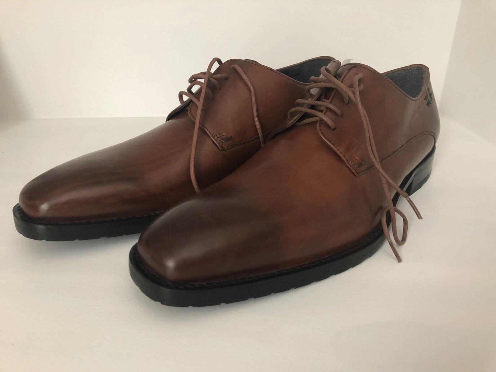 LUGANO Men's Brown Leather Oxford shoes (US 9.5 Medium)