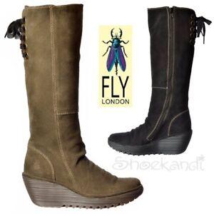 90183966424 Mujer Fly London Yust Muy Ancho Media Caña Botas Invierno Cuña Baja ...