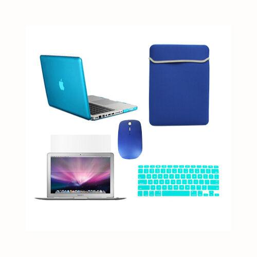 "LCD+BAG+MOUSE 5 in 1 AQUA BLUE Crystal Case fr Macbook Pro 13/"" A1425 Retina+Key"
