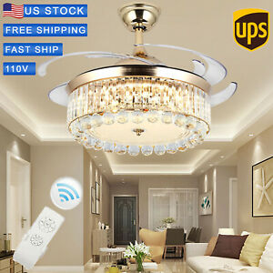 42-034-Chandelier-Ceiling-Fan-Light-Invisible-Blade-Crystal-LED-With-Remote-Control