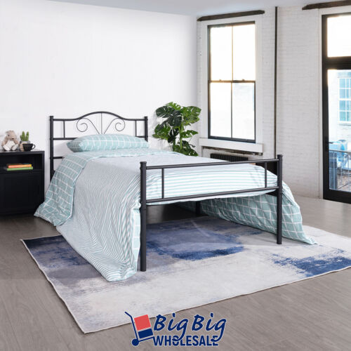 Twin Size Steel Foundation Vintage Bed Frame Headboard Single Bed Black Metal