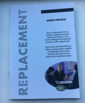 LRL0178ENG GENUINE LAND ROVER /& RANGE ROVER REPLACEMENT SERVICE BOOK
