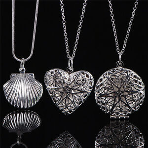 Women-Silver-Picture-Locket-Hollow-Heart-Photo-Pendant-Chain-Necklace-Rr
