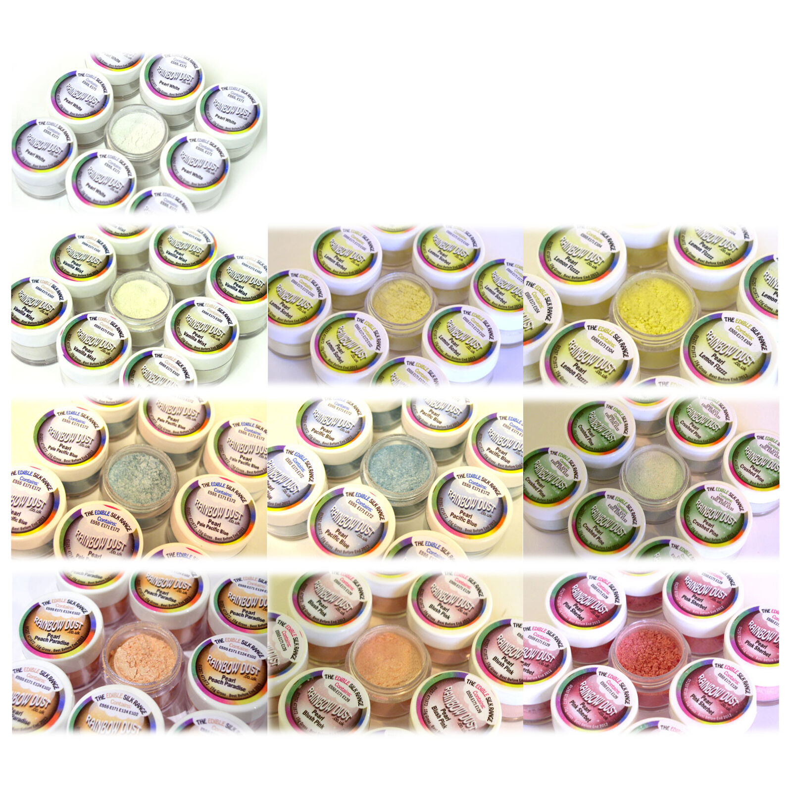 20 x Rainbow Dust Edible Silk PEARL Cupcake Cake Icing Glitter Decoration Powder
