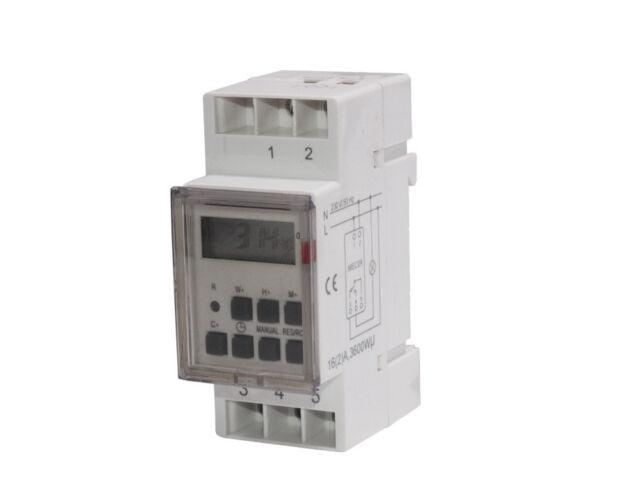 Maclean - Temporizador eléctrico digital tipo carril DIN 16A 220V Programador