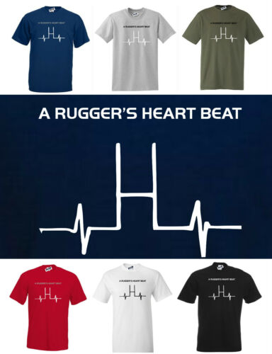 A RUGGER/'S HEART BEAT New Rugby T-shirt  Small to 5XL