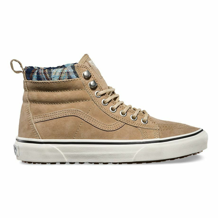 Vans Sk8 Hi MTE Khaki Woven Chevron Hiking Water Repellent Womens Size 5.5