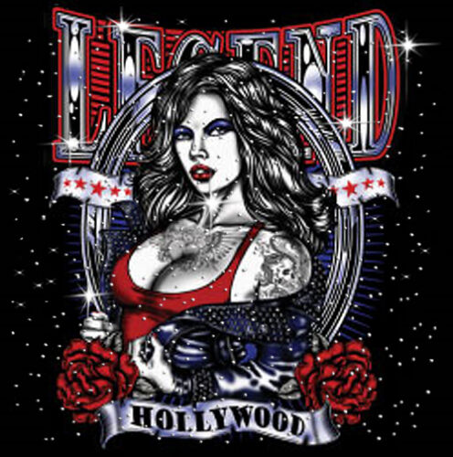 SUPERSIZE T749F Rhinestone Hollywood Legend Tattoo Pinup T-Shirt PLUS SIZE or