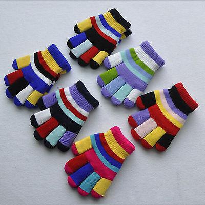 Women Rainbow Knit Warm Winter Gloves Full Finger Mittens New