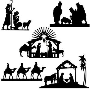 Christmas Silhouette.Details About Die Cut Outs Silhouette Shapes Christmas Xmas Nativity Toppers Set