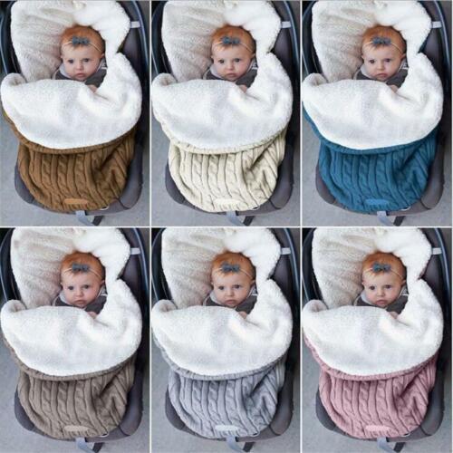 Thick Cute Baby Swaddle Wrap Knit Newborn Sleeping Bag Stroller Warm Blanket Q